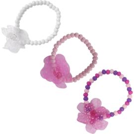 Kinder armband Bloem- Klijn- Rose, white of diverse kleuren