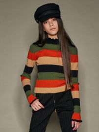 Nobell-Kinoa yarn dyed striped knitted top with ruffled neck+cuffs-Piment-Brown
