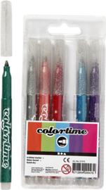 Colortime glitterstiften-lijndikte 4.2- 6 stuks-C.W.-Multcolor