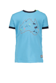 B.Nosy-Baby boys shirt with  map embroidery-Maya blue