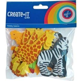 Create it- C.W.-Foam stickers safari dieren 32 stuks-Multi Color
