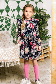 B.Nosy-Girls woven dress with youth flower AOP-youth flower ao-Multi Color
