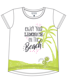 Kids Girls knitted T-Shirt-LEMONADE BEACH-Blue Seven-WHITE