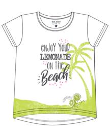 Blue Seven-Kids Girls knitted T-Shirt-LEMONADE BEACH-WHITE