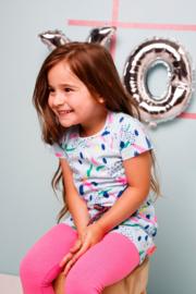 Bampidano-Junior Girls short sleeve dress Emmy AO/plain with waist cord SUMMER LOVE-allover