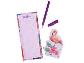 C.W.-Notitieblok set 2 stuks met pen Flamingo-rose