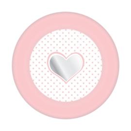 Meisje  Bordjes Star / Hart Roze 8 stuks-C-Roze