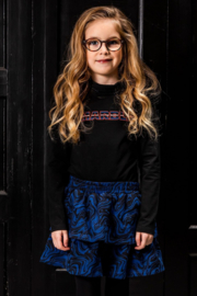 B.Nosy-Girls turtleneck top with embroidery on chest-Black