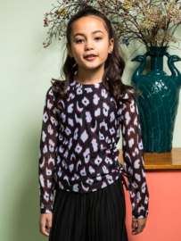 B.Nosy-Girls turtle neck ls shirt with body lining-you leopard-Multi Color