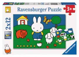 Ravensburger  Nijntje bij de dieren- 2x12 stukjes-Multi Color