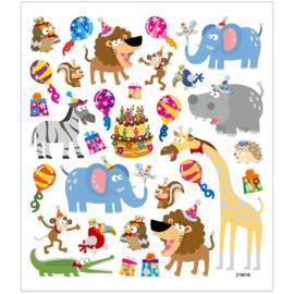 Stickers, vel 15x16,5 cm, circa 28 stuk, , dieren verjaardag-C-Diverse kleuren