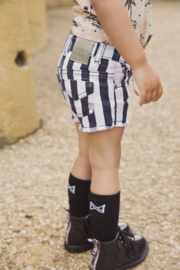 Girls Shorts- Koko Noko-Stripes + black + white