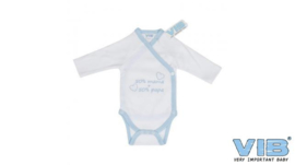 Boys Romper 50% mama + 50% papa-VIB-White-light blue
