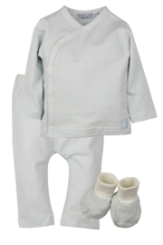 Baby Boys pre  2-pce Babysuit  + booties-Dirkje- Light Blue Stripe