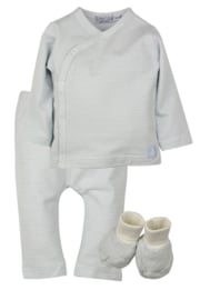 Dirkje-Baby Boys pre  2-pce Babysuit  + booties- Light Blue Stripe