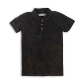 Boys Ribbed Polo Shirt- Minoti- Charcoal
