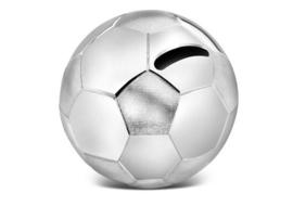 Zilverstad-Unisex Spaarpot voetbal- Verzilverd-Silver