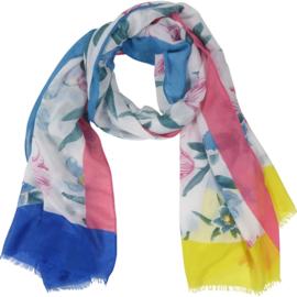 Sjaal Bloemen gekleurde randen 90X180CM-Klijn-Blauw