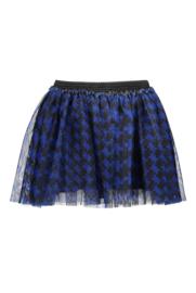 Girls Kids mesh skirt with pied du poule aop -B.Nosy-Maxi cobalt puzzle