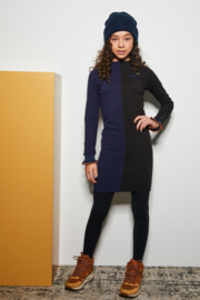 Nobell-Mint rib colorblock dress with ruffled sleeves-Phantom-navy