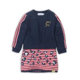Dirkje-Girls Baby dress-  Navy + red + pink
