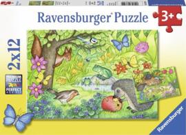 Ravensburger Dieren in onze tuin - Twee puzzels - 12 stukjes-C-Multi Color
