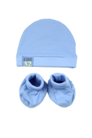 Dirkje-Baby hat en booties- Blue
