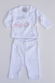 Baby Girls pre 2-pce babysuit Animals-LPC-White-rose