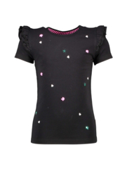B.Nosy-Girls t-shirt with sequincse flowers on body-Black