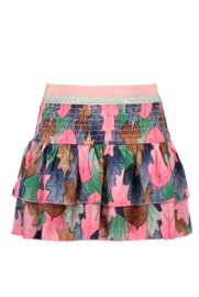 Girls Kids aop woven skirt with smocked wb and layer  -B.Nosy-Allover-Leaf cover