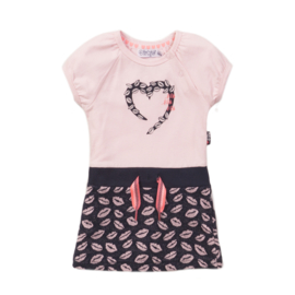 Dirkje-Baby Girls Dress-Light pink + navy