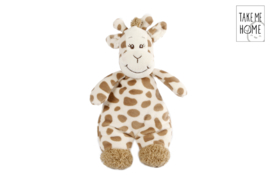 Pluche knuffel Giraffe met rammelaar- LPC- White