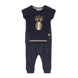Dirkje-Baby Girls 2 pce babysuit trousers-Navy + aop