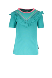 B.Nosy-Baby girls short sleeve shirt with  ruffle and small printed stripe-Ceramic