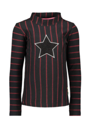 Girls Kids  yd stripe shirt with collar, star black fur-B.Nosy-Black/red stripe
