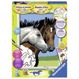 Schilderen op nummer Serie Classic Paardenvriendschap. Formaat 18 x 24 cm