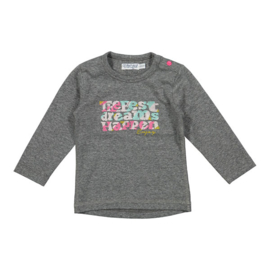 Girls T-Shirt The best Dreams happen- Dirkje- Grey melee
