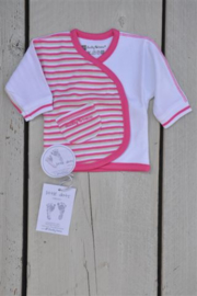 Baby Girls pre T shirt l/s-Ducky beau-Rose stripe-White