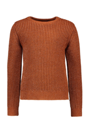 Girls Kids heavy knitted pullover with lurex and contrast backsid-B.Nosy-Cognac