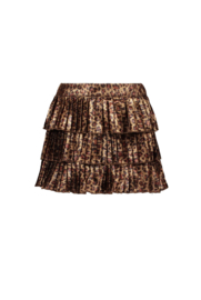 B.Nosy-Girls Kids fake panther leather plissé skirt-Brown-Leopard leather