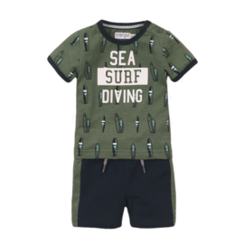 Dirkje-Baby Boys 2 pce babysuit shorts-Faded green + navy