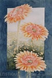 Drie Gele Gerbera`s, aquarelverf