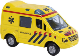 Kids Globe Die-cast pull back  Ambulance 8cm-C-Yellow