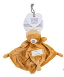 VIB-Unisex Pluche Knuffeldoekje met Berenhoofd -Light Brown