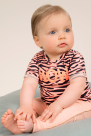 Dirkje-Baby Girls T-shirt ss -Peach + navy