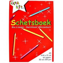 Schetsboek Crea-kit A5-C.W.-Red