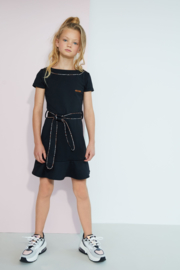 Nobell-Girls Teens- Mikky little black dress with 1/2 sleeves and piping in V-shape at front-Jet Black