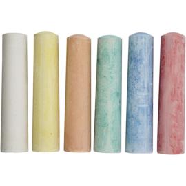 Stoepkrijt  6stuks-10 cm- C- diverse kleuren