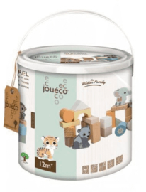 Joueco  The Wildies Family Houten blokken in ton 50 stuks-C-Multicolor