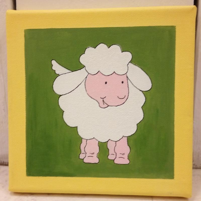 Het schaapje, acrylverf op canvas doek
